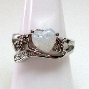 Ring Size 6 Simulated Fire Opal Mom Heart 390